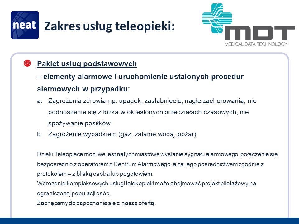 Zakres usług teleopieki: