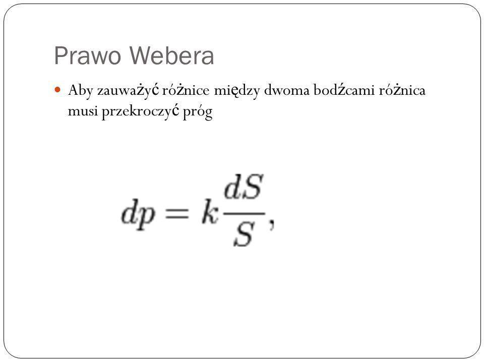 Prawo Webera Aby zauważyć różnice między dwoma bodźcami różnica musi przekroczyć próg