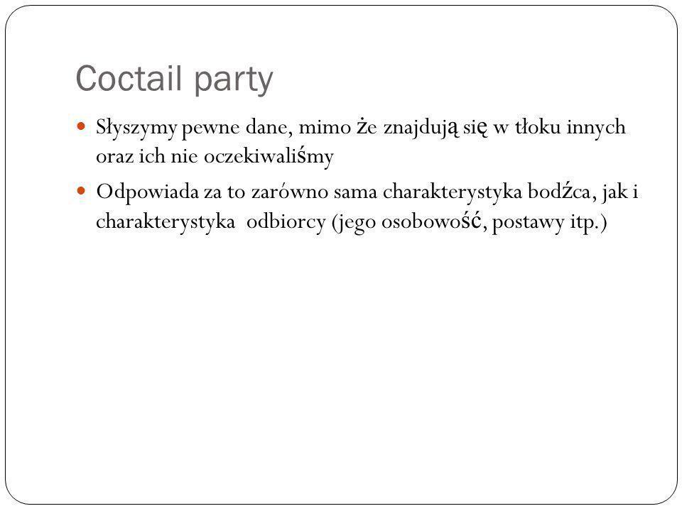 Coctail party Słyszymy pewne dane, mimo że znajdują się w tłoku innych oraz ich nie oczekiwaliśmy.