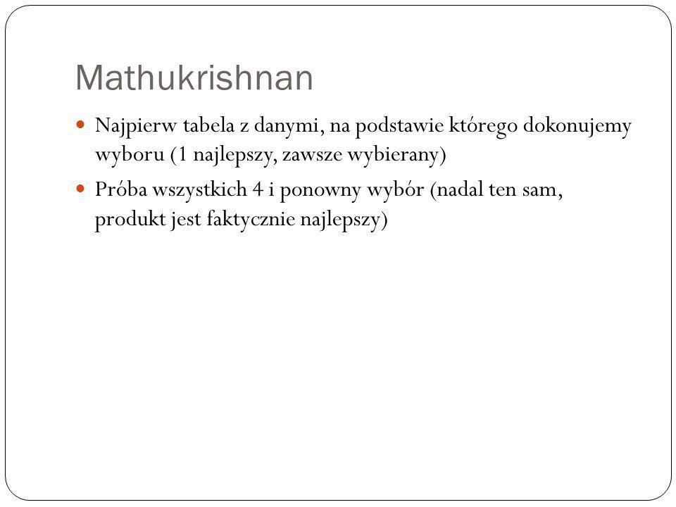 Mathukrishnan Najpierw tabela z danymi, na podstawie którego dokonujemy wyboru (1 najlepszy, zawsze wybierany)