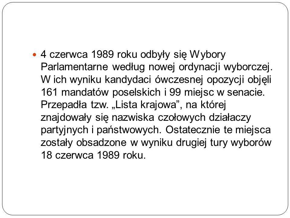 4 czerwca 1989 roku odbyły się Wybory Parlamentarne według nowej ordynacji wyborczej.