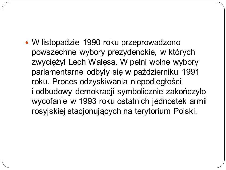 W listopadzie 1990 roku przeprowadzono powszechne wybory prezydenckie, w których zwyciężył Lech Wałęsa.