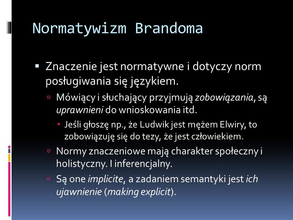 Normatywizm Brandoma Znaczenie jest normatywne i dotyczy norm posługiwania się językiem.