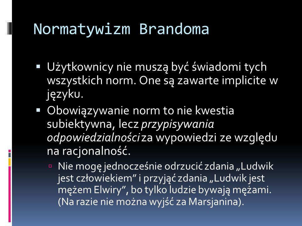 Normatywizm Brandoma Użytkownicy nie muszą być świadomi tych wszystkich norm. One są zawarte implicite w języku.
