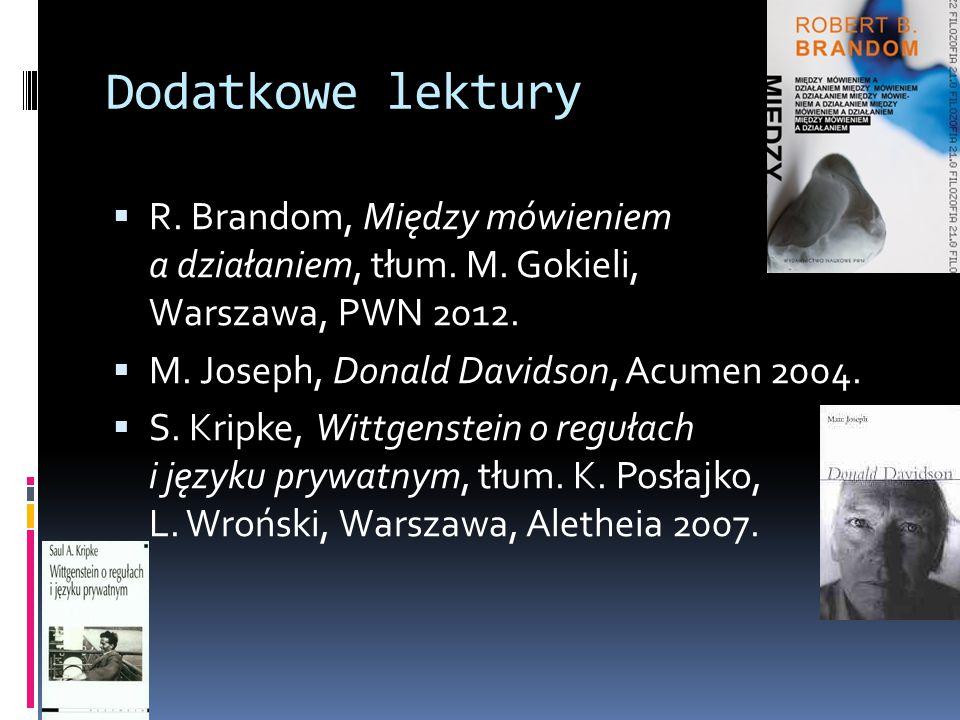 Dodatkowe lektury R. Brandom, Między mówieniem a działaniem, tłum. M. Gokieli, Warszawa, PWN 2012.