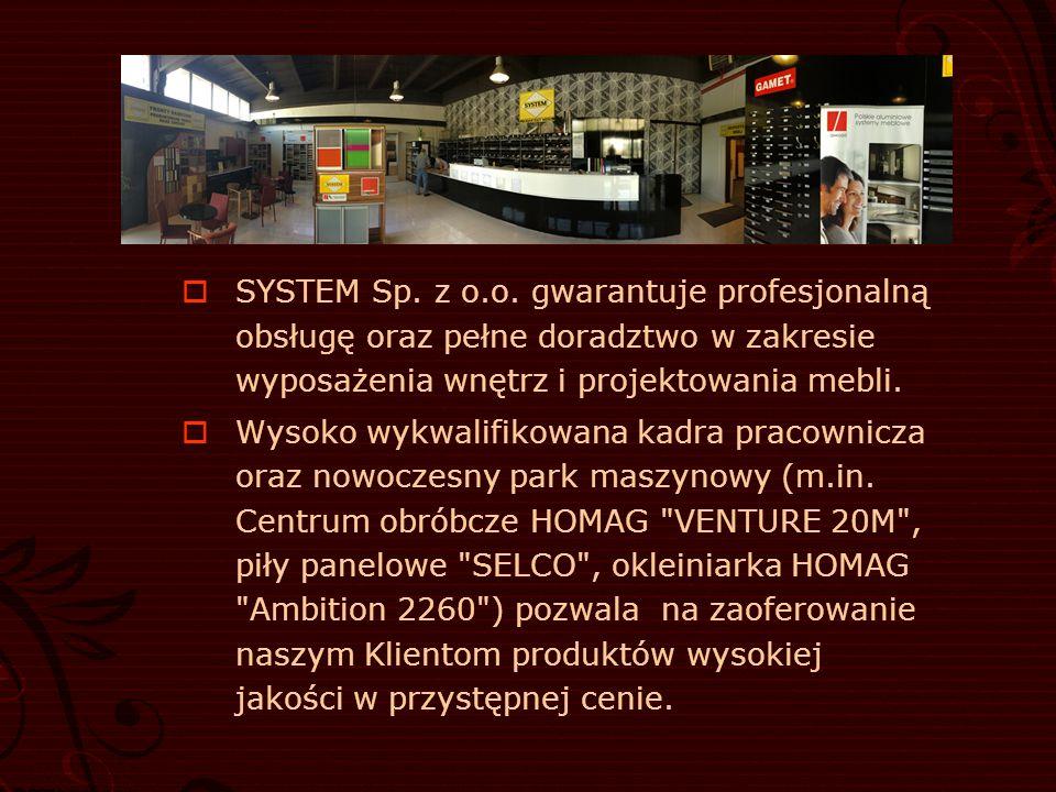 SYSTEM Sp. z o.o. gwarantuje profesjonalną obsługę oraz pełne doradztwo w zakresie wyposażenia wnętrz i projektowania mebli.