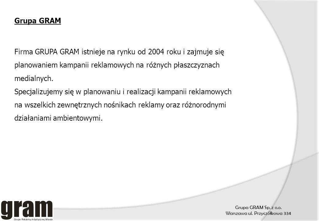 Grupa GRAM Firma GRUPA GRAM istnieje na rynku od 2004 roku i zajmuje się planowaniem kampanii reklamowych na różnych płaszczyznach medialnych.