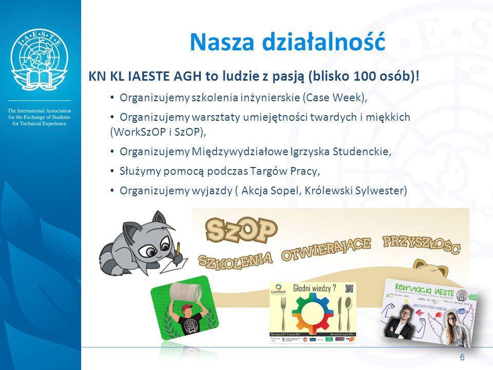 Nasza działalność KN KL IAESTE AGH to ludzie z pasją (blisko 100 osób)! Organizujemy szkolenia inżynierskie (Case Week),