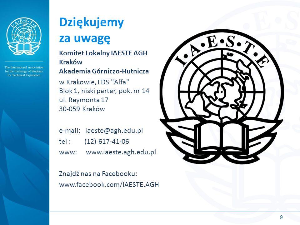 Dziękujemy za uwagę Komitet Lokalny IAESTE AGH Kraków Akademia Górniczo-Hutnicza.