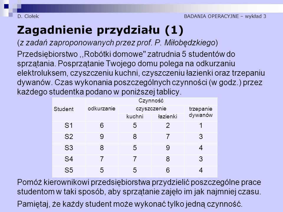 D. Ciołek BADANIA OPERACYJNE – wykład 3
