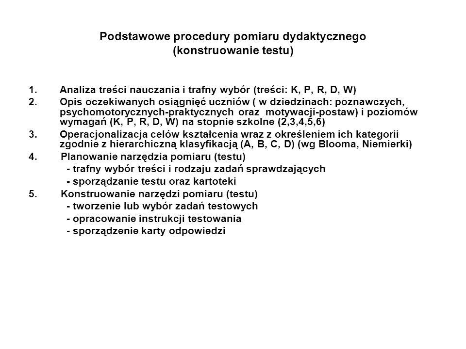 Podstawowe procedury pomiaru dydaktycznego (konstruowanie testu)