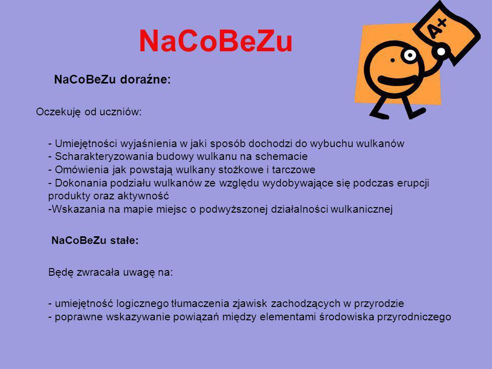 NaCoBeZu NaCoBeZu doraźne: Oczekuję od uczniów: