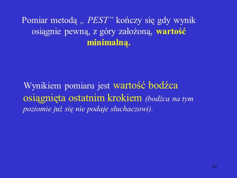 """Pomiar metodą """" PEST kończy się gdy wynik osiągnie pewną, z góry założoną, wartość minimalną."""