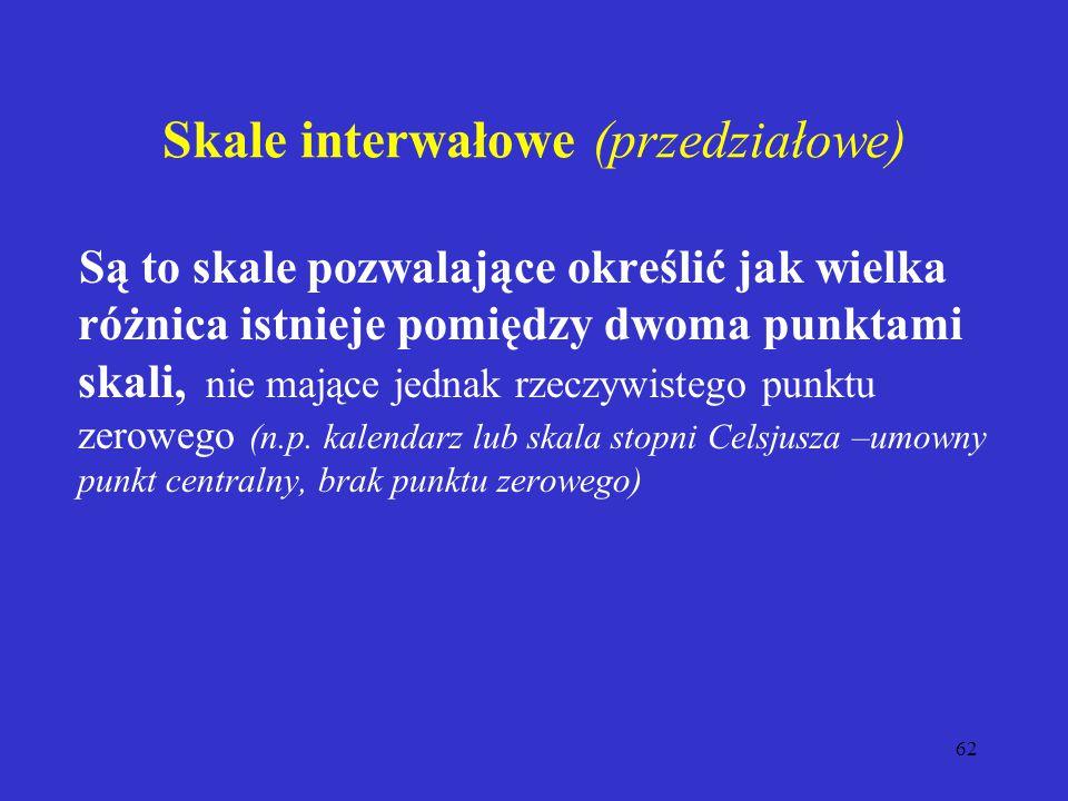Skale interwałowe (przedziałowe)