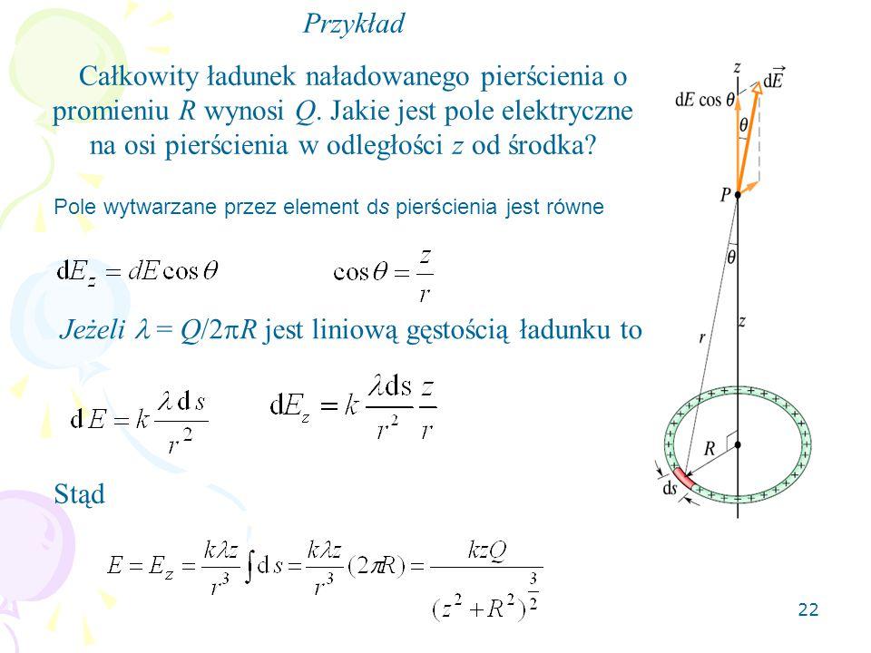 Jeżeli  = Q/2R jest liniową gęstością ładunku to