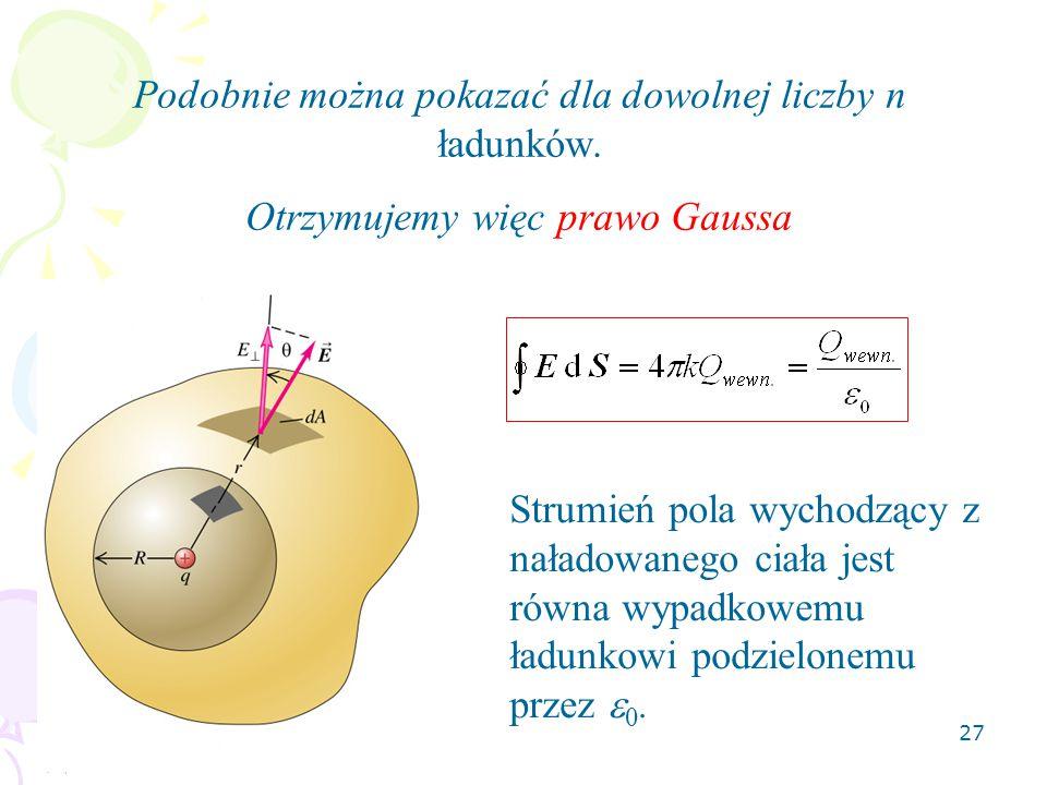 Podobnie można pokazać dla dowolnej liczby n ładunków.
