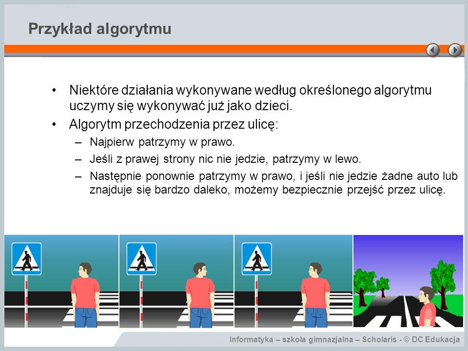 Przykład algorytmu Niektóre działania wykonywane według określonego algorytmu uczymy się wykonywać już jako dzieci.