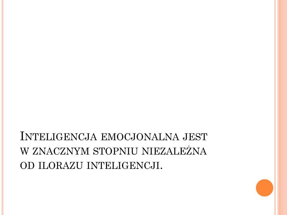 Inteligencja emocjonalna jest w znacznym stopniu niezależna od ilorazu inteligencji.