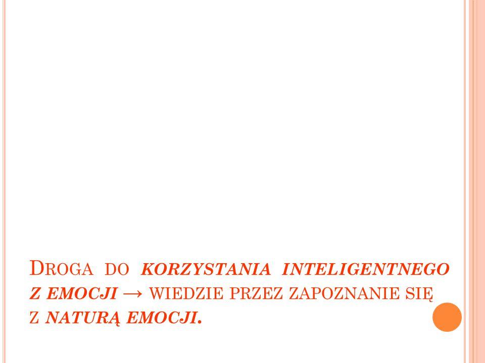 Droga do korzystania inteligentnego z emocji → wiedzie przez zapoznanie się z naturą emocji.