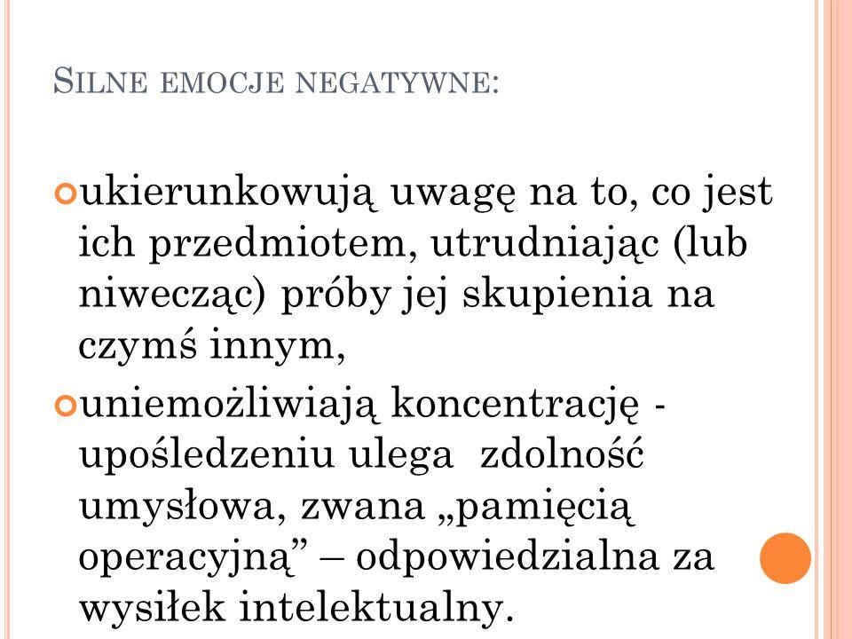 Silne emocje negatywne: