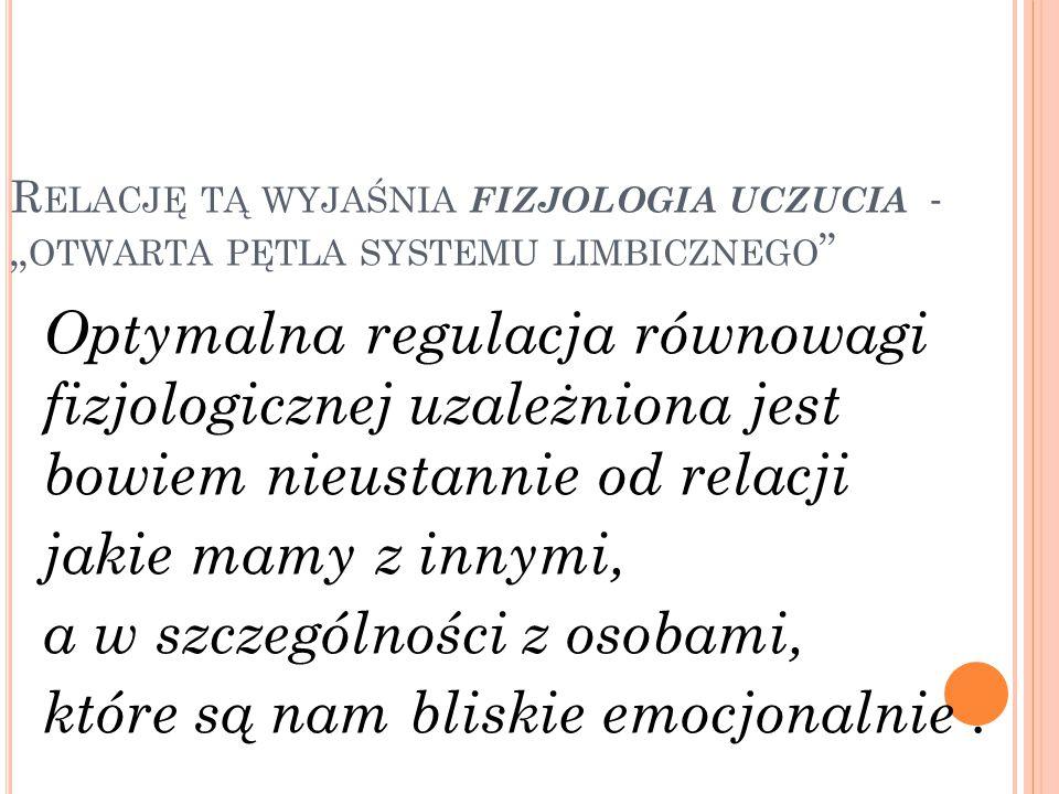 """Relację tą wyjaśnia fizjologia uczucia - """"otwarta pętla systemu limbicznego"""