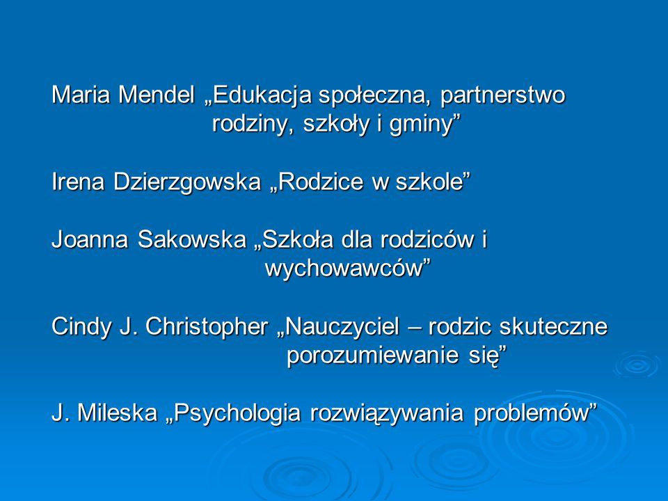 """Maria Mendel """"Edukacja społeczna, partnerstwo"""