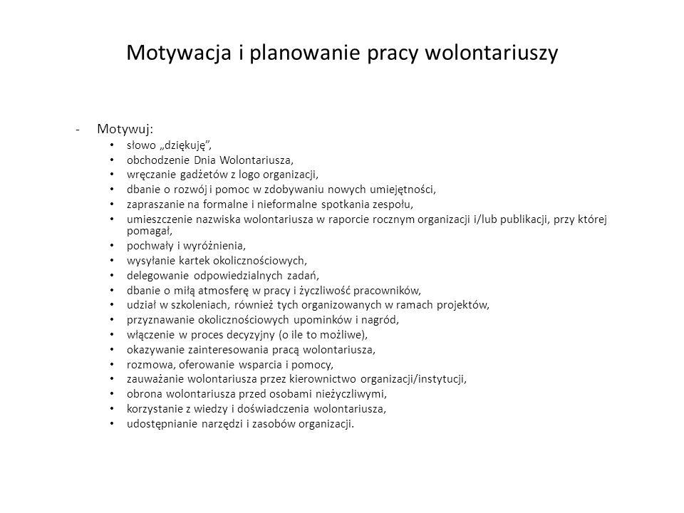 Motywacja i planowanie pracy wolontariuszy