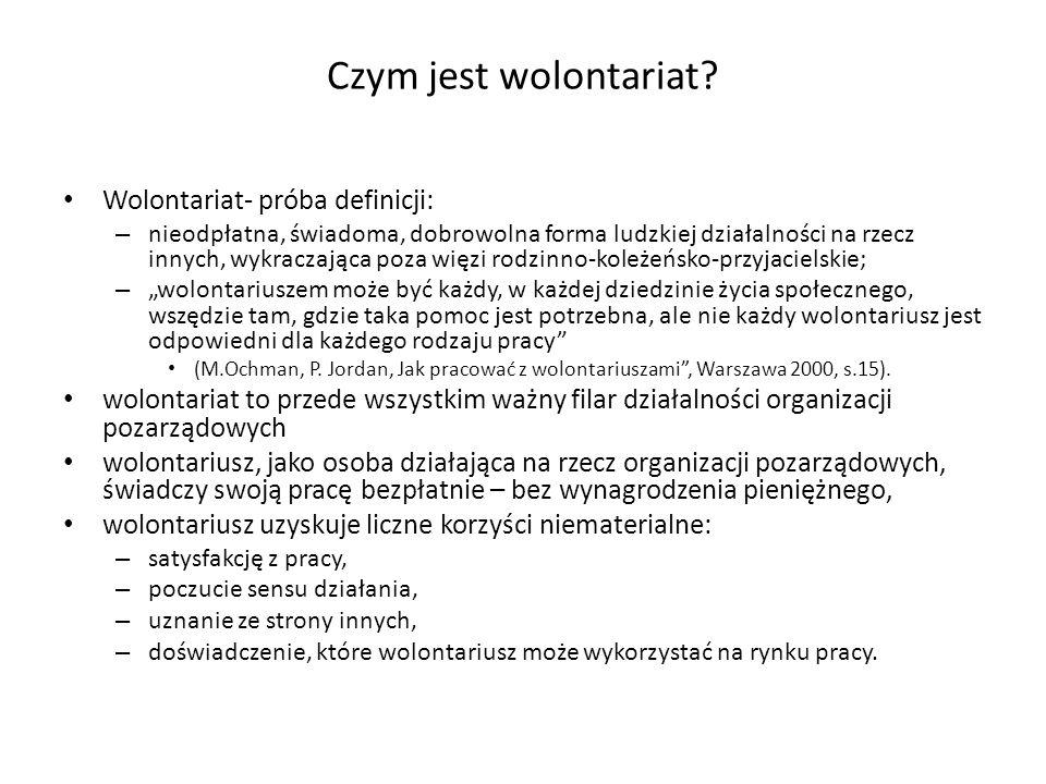 Czym jest wolontariat Wolontariat- próba definicji: