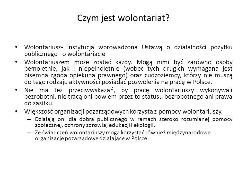 Czym jest wolontariat Wolontariusz- instytucja wprowadzona Ustawą o działalności pożytku publicznego i o wolontariacie.