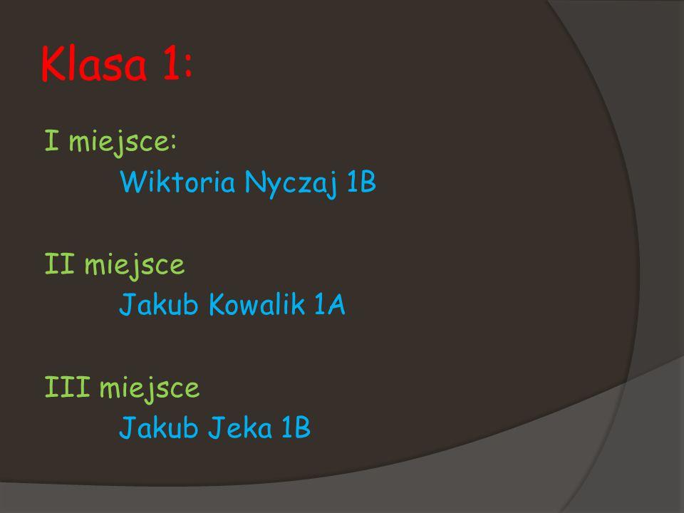 Klasa 1: I miejsce: Wiktoria Nyczaj 1B II miejsce Jakub Kowalik 1A III miejsce Jakub Jeka 1B