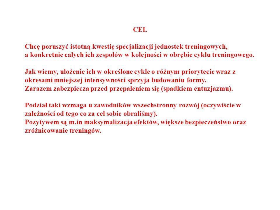 CEL Chcę poruszyć istotną kwestię specjalizacji jednostek treningowych, a konkretnie całych ich zespołów w kolejności w obrębie cyklu treningowego.
