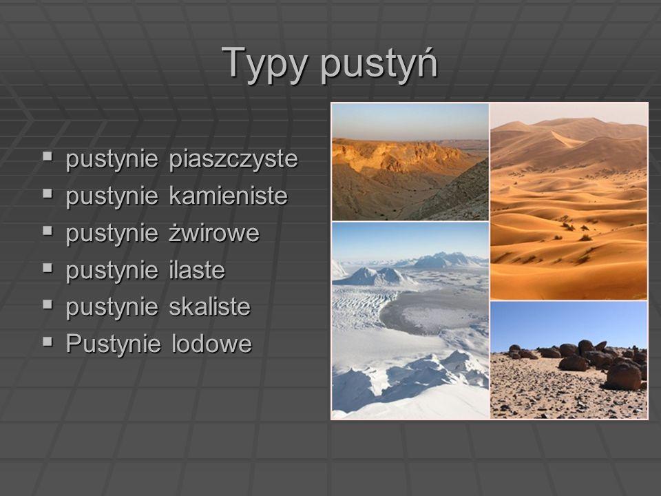 Typy pustyń pustynie piaszczyste pustynie kamieniste pustynie żwirowe