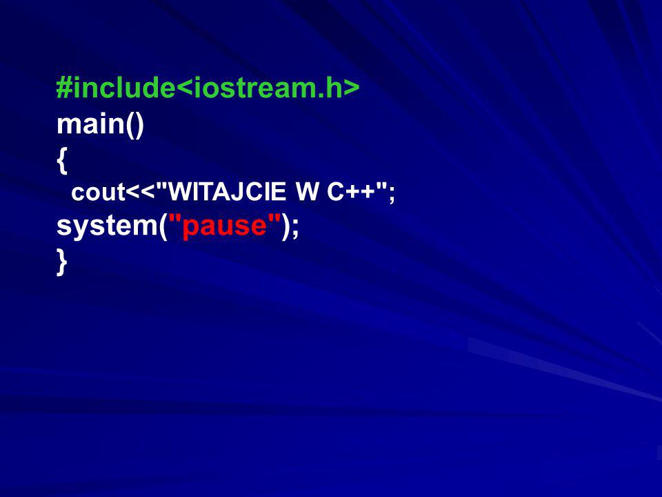 #include<iostream.h> main() { system( pause ); }