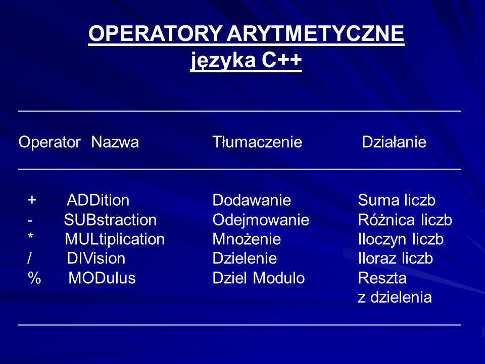 OPERATORY ARYTMETYCZNE języka C++