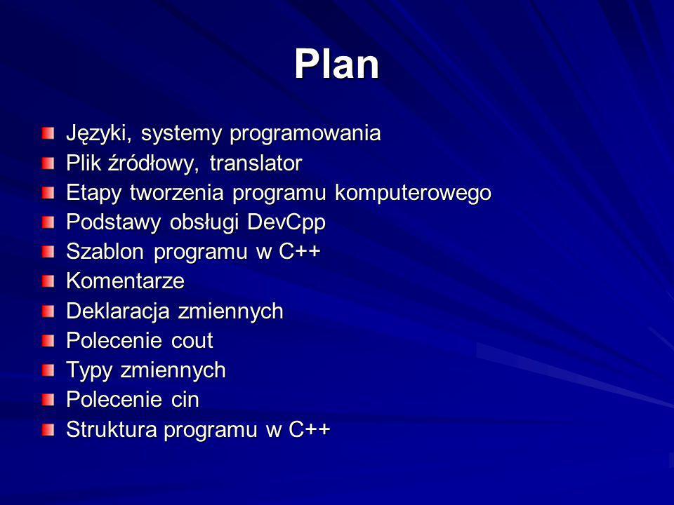 Plan Języki, systemy programowania Plik źródłowy, translator