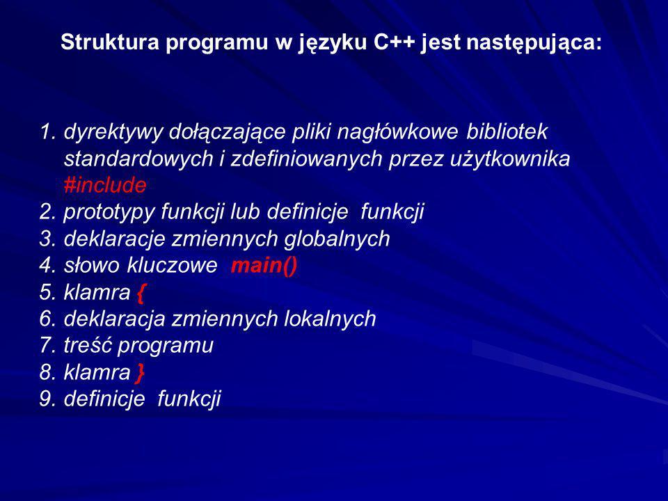 Struktura programu w języku C++ jest następująca: