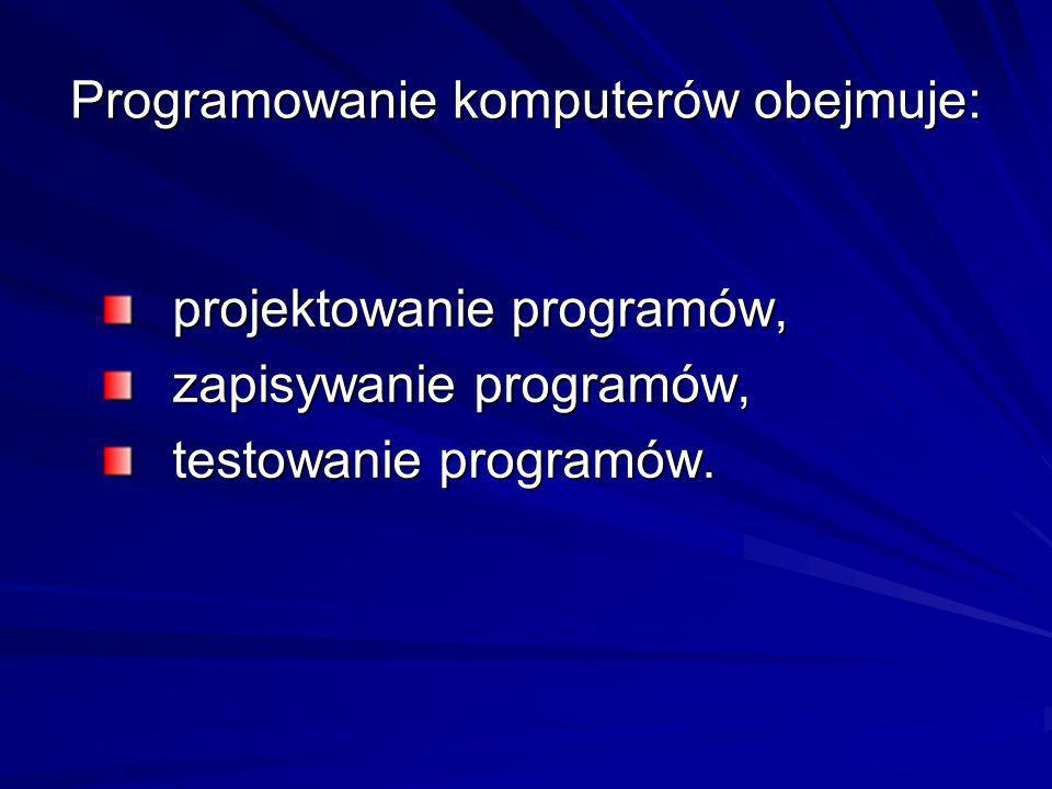 Programowanie komputerów obejmuje: