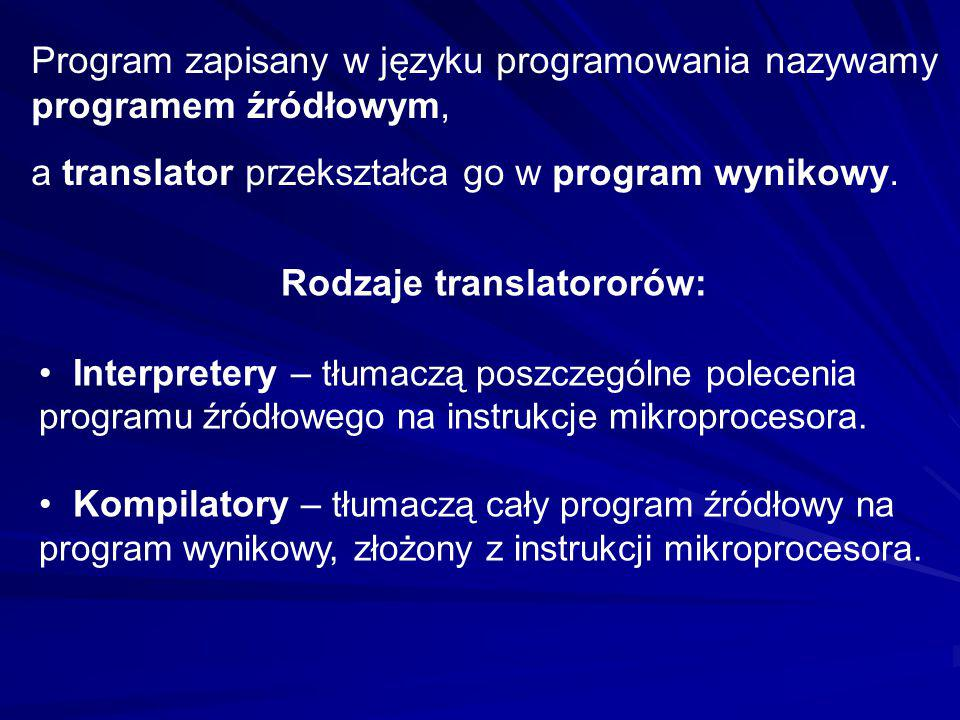 Rodzaje translatororów: