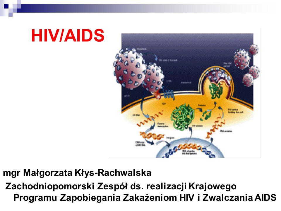 HIV/AIDS mgr Małgorzata Kłys-Rachwalska Zachodniopomorski Zespół ds.
