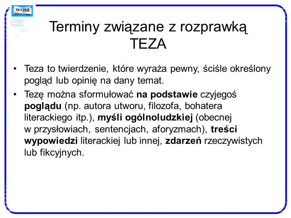 Terminy związane z rozprawką TEZA