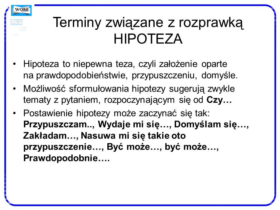 Terminy związane z rozprawką HIPOTEZA