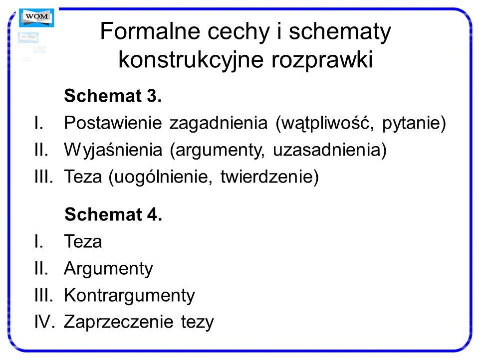 Formalne cechy i schematy konstrukcyjne rozprawki