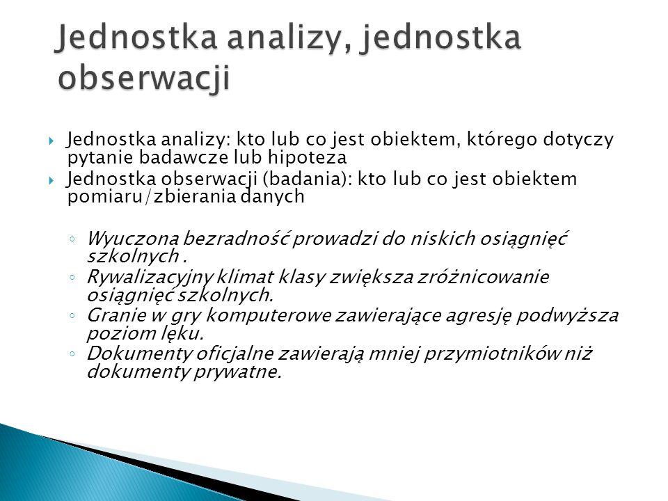 Jednostka analizy, jednostka obserwacji
