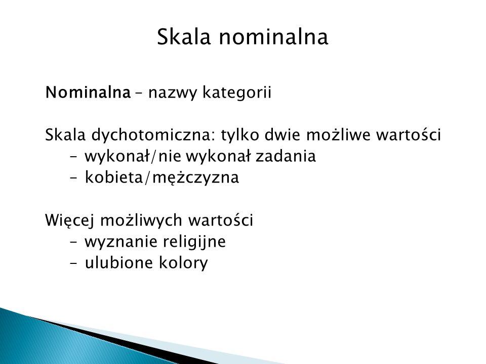 Skala nominalna Nominalna – nazwy kategorii