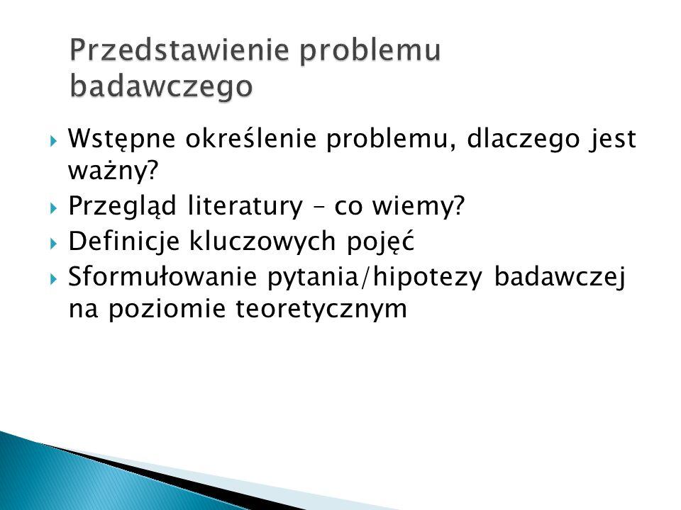 Przedstawienie problemu badawczego