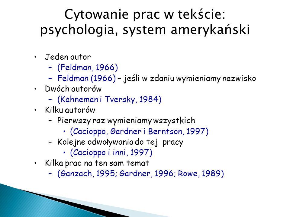 Cytowanie prac w tekście: psychologia, system amerykański