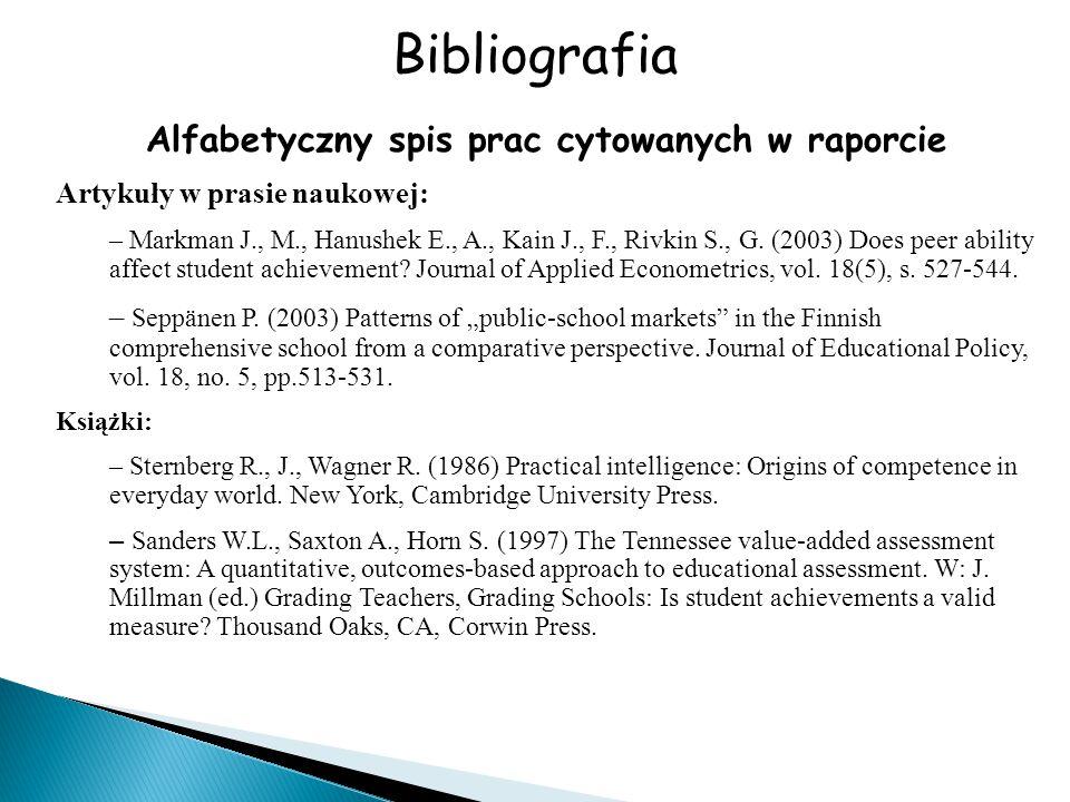 Alfabetyczny spis prac cytowanych w raporcie