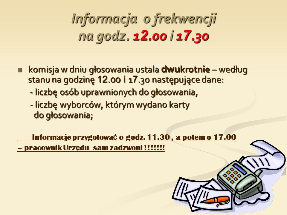 Informacja o frekwencji na godz. 12.oo i 17.3o