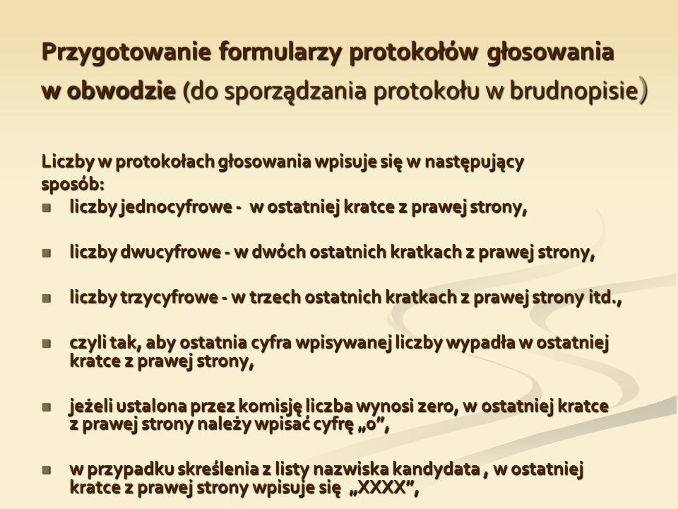 Przygotowanie formularzy protokołów głosowania w obwodzie (do sporządzania protokołu w brudnopisie)