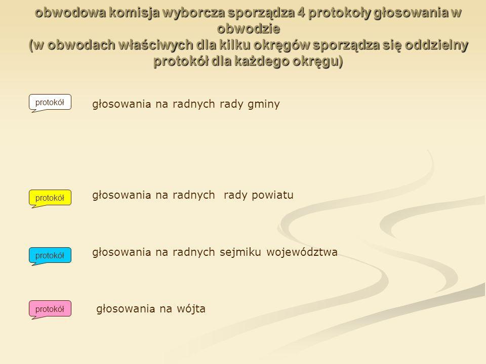 obwodowa komisja wyborcza sporządza 4 protokoły głosowania w obwodzie (w obwodach właściwych dla kilku okręgów sporządza się oddzielny protokół dla każdego okręgu)